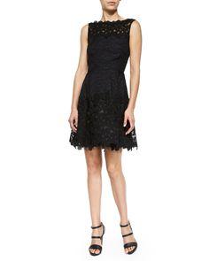 Oscar de la Renta Sleeveless Floral Lace Dress, Black