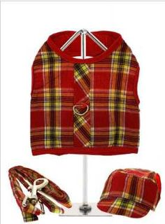 A very smart tartan harness made from durable, fully lined high-gauge cotton. It has a sturdy reinforced D-Ring and a double sized / double strength velcro for secure fastening. Matching lead and cap included to compliment the set. Tartan, Plaid, Dog Coats, Dog Design, Boutique Clothing, Compliments, Collars, Cap, Yellow