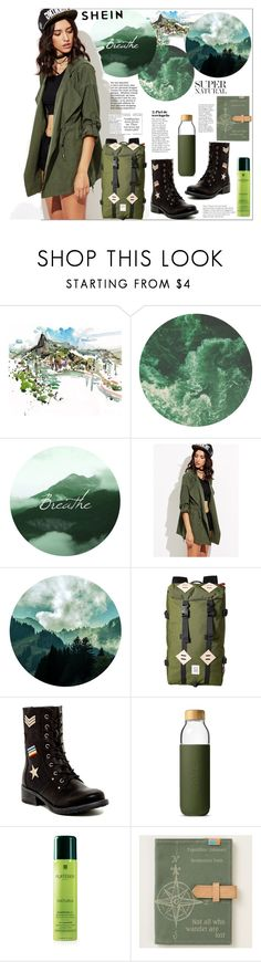 """Shein.Roll-Up Sleeve Drawstring Hooded Coat"" by natalyapril1976 ❤ liked on Polyvore featuring Topo Designs, MIA, Soma and Rene Furterer"