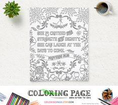 Coloring Page She is clothed Printable Bible Verse by coloringpage