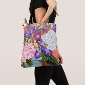 """Late Summer Bouquet"" Floral Tote Bag | Zazzle.com School Bags For Kids, Kids Bags, Floral Tote Bags, Printed Tote Bags, School Bag Essentials, Turquoise Bouquet, Art Floral, Floral Prints, Purple Iris"