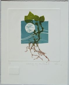 Weeding by the Phases.    Lino cut with mono print.   Image size 15x15cm Paper size 24x19cm