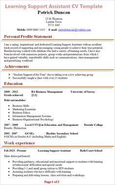 This Learning Support Assistant CV Example is professionally written to reflect a CV that is suitable for a teaching assistant. This CV Template also has. Education Quotes For Teachers, Quotes For Students, Education College, Quotes For Kids, Learning Support Assistant, Good Cv, Free Resume Examples, Learning Quotes, Education English