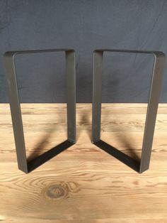 "Set Of Custom Made Modern Industrial Flat Steel Leg Base - 12""W x 16""H - Handmade - Black - FAST Shipping"