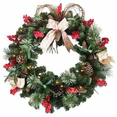 live christmas wreaths | ... Living 30-in Pre-Lit Pinecone/Red Berry Artificial Christmas Wreath