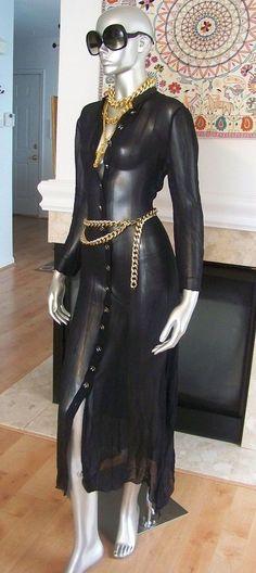 Chanel Dress (Pre-owned Sheer Siren Long Sleeve Black Silk Designer Dress)