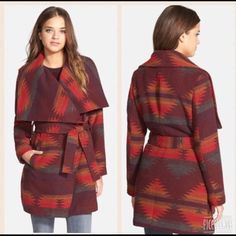 """Steve Madden Blanket Aztec Coat Previously purchased from a posher who claimed it was new and never worn. Actually got a jacket as a gift similar to this one. A geometric pattern in rich, warm colors underscores the heritage appeal of a blanket-woven coat infused with a touch of soft wool. A wide wing collar frames the face atop the belt-cinched design. 34"""" length (size Medium). Hidden snap closure. Front welt pockets. Removable tie belt. Lined. 72% polyester, 16% acrylic, 6% rayon, 3% wool…"""