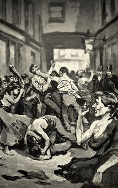 A fight in a court in the East End of Victorian London.