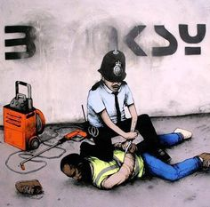 by french street artist Dran-if you clean Banksy's graffiti,you'll be arrested :P...