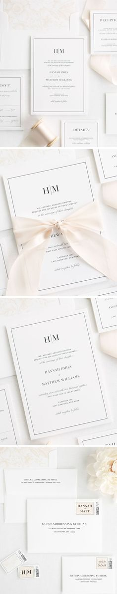 A simple and sophisticated monogram paired with a vintage script font create a statement on our glamorous Glam Monogram wedding invitations. Complete with a floral envelope liner and solid belly band in a neutral champagne. Customize this wedding invitati