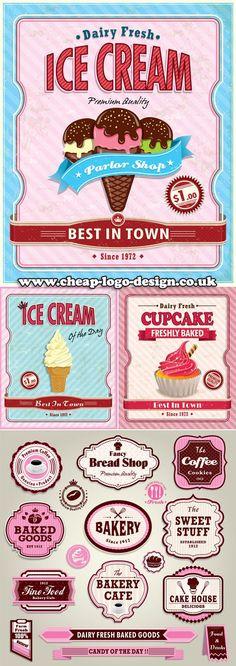 cupcake and ice cream label ideas www.cheap-logo-design.co.uk #icecream #cupcake #cakelabels