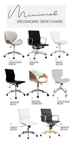 Sep 2018 - Create a beautiful, Minimalist home office workspace that's both inspirational and that boosts your productivity levels with these 5 simple steps. Home Office Chairs, Office Workspace, Modern Office Chairs, Modern Desk Chair, Office Table, White Desk Office, Desk Chairs For Kids, Home Office Furniture Ideas, Office Ideas