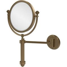 Southbeach Collection Wall-Mounted Make-Up Mirror, 8 inch Diameter with 5x Magnification (Build to Order), Silver