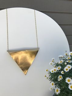 Crea-tiff bijoux          - Gold leather triangle bag
