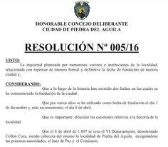 Piedra OnLine: Piedra del Aguila podría tener nuevo acta de nacim...