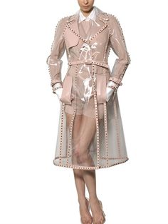 VALENTINO - STUDDED LEATHER TRIM PVC TRENCH COAT - LUISAVIAROMA - LUXURY SHOPPING WORLDWIDE SHIPPING - FLORENCE