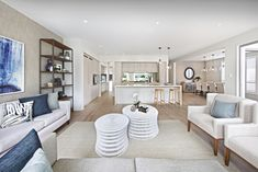 Clarendon Homes. Bayside 39. Coastal family room overlooking the kitchen.