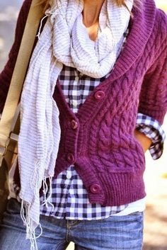 Fall Outfit:  Warm comfy knit cardigan with flannel shirt and rough scarf.  Match with comfy blue jeans and a handbag and you're set!