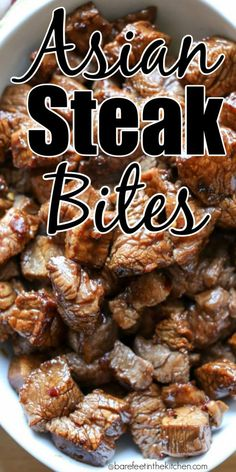 No one can resist these steak bites!You can find Main dishes and more on our website.No one can resist these steak bites! Meat Recipes, Asian Recipes, Dinner Recipes, Cooking Recipes, Healthy Recipes, Game Recipes, Healthy Food, Asian Foods, Kitchen Recipes
