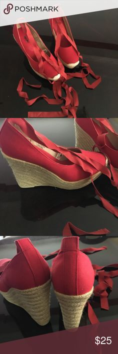 Red Mossimo platform espadrilles. Red canvas lace up espadrilles.  Mossimo. Lace up the ankle. 4 inch heel, 1 inch platform. Never worn!! Mossimo Supply Co Shoes Espadrilles