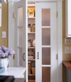 food pantry doors-Frosted-Glass Pantry Door inserts obscure what's inside so…