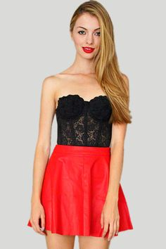 Red Leather Skater Skirt - Closet Whore