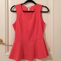 Pink peplum top Pink/coral peplum top, so cute for summer or spring! Only worn once in perfect condition! All sales final Ambiance Apparel Tops