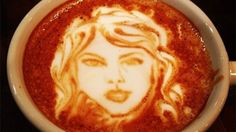 in this coffee shop in New York City you can ask to have the cream in your coffee to look like taylor swift's face <<< That's awesome!!!