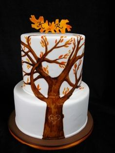 painted tree wedding cake, two tier fondant wedding, tree wedding cake