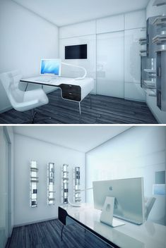futuristic office interior design, Minimalist Dream House: Black, White & Awesome All Over, Futuristic Interior Design, workspace, Modern Home, Future House, workplace