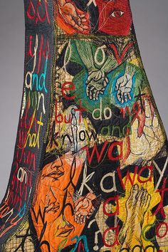 Kay Khan - The Saga (sold) Art Fibres Textiles, Textile Fiber Art, Free Motion Embroidery, Types Of Embroidery, Boro, Graffiti Doodles, Surface Art, Quilt Stitching, Quilting