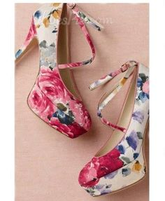 Gorgeous #Flower-Print Coppy Leather #Ankle #Strap High #Heel #Shoes