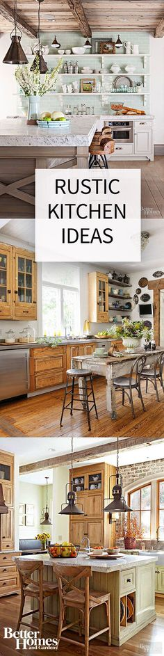 In rustic kitchens, light, bright colors are balanced out by lots of wood accents. Reclaim old beams, other architectural elements and vintage décor to maintain the old country vibe. Contrast with modern elements for a contemporary update on the traditional rustic style.