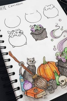 Best bullet journal doodles for fall & halloween Starting your fall theme and need some deocration ideas? Check out these Fall and Halloween step by step bullet journal doodle tutorials for inspiration! Bullet Journal Halloween, Bullet Journal October, Bullet Journal Writing, Bullet Journal Ideas Pages, Bullet Journal Inspiration, Halloween Doodle, Theme Halloween, Fall Halloween, Cute Halloween Drawings
