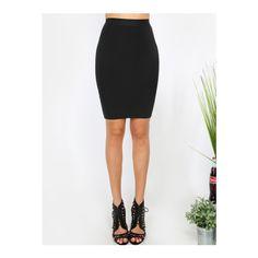 SheIn(sheinside) Black Zipper Back Stretchy Skinny Skirt (105 SEK) ❤ liked on Polyvore featuring skirts, black, stretch skirts, zip back skirt, summer pencil skirt, stretchy pencil skirt and short pencil skirt