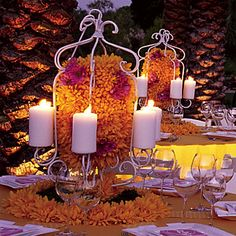 Cage Candle Centerpiece filled with your Accented Flowers, Charming Touch.