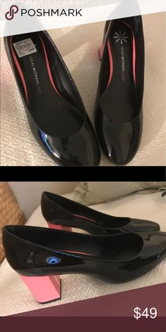 Isaac Mizrahi Black Patent Pumps Classic with a twist! A pink block heel makes these pumps pretty with a pop! Isaac Mizrahi Shoes Heels