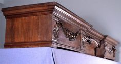 Antique Neo Gothic Fireplace Mantel Shelf Crown Pediment Valence Wood Neogothic