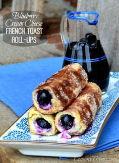 Blueberry Cream Cheese French Toast Roll-Ups   LemonyThyme.com