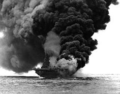 """gruene-teufel: """"""""USS Bunker Hill afire after being hit by two 'Kamikaze' suicide planes off Okinawa, 11 May Photographed from USS Bataan """" Okinawa, Naval History, Military History, Uss Hornet Cv 12, Leyte, Bataan, Us Navy Ships, Bunker Hill, Aircraft Carrier"""