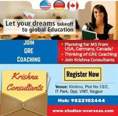 Are you planning to pursue MS from USA, Germany or Canada? Join GRE Coaching at Krishna Consultants and get admitted into a Top-Rank University with high GRE Score.
