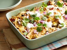 Get Chicken Tortilla Dump Dinner Recipe from Food Network. I think I'll serve tortillas separately. Cooking Chicken To Shred, How To Cook Chicken, Cooked Chicken, Dump Chicken, Cooking Salmon, Casserole Dishes, Casserole Recipes, Mexican Food Recipes, Dinner Recipes