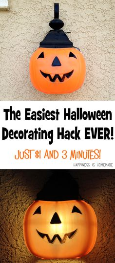 The Cheapest and Easiest Halloween Decorations EVER - these Jack O'Lantern pumpkin porch lights only cost $1 and take about 3 minutes to make!