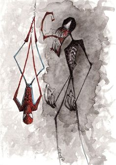Spider-Man vs. Venom  by Jena Sinclair  What i imagine it would look like if Tim Burton did comics