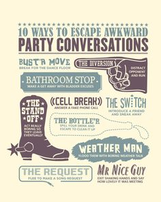 10 ways to escape awkward party conversations