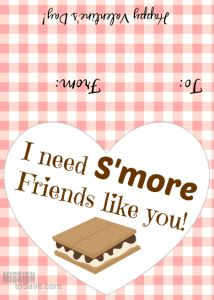 I need S'more Friends Valentine's Day printable tags.  Print these FREE tags and attach on a baggie with s'mores ingredients.