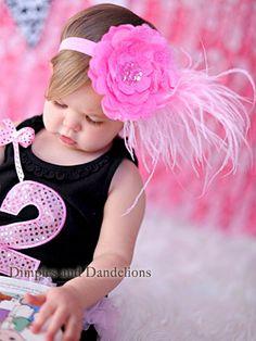 Ooh La La Bubblegum Pink Feather & Lace Silk Flower Headband