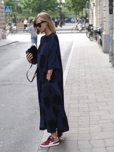 sneakers with oversized dress