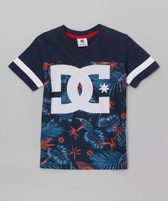 Look at this #zulilyfind! Navy Tropical 'DC' Tee - Boys #zulilyfinds