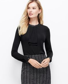 """{faux leather trim double tie blouse in black - under $100 + take 50% off w/ code """"DEAL50"""" thru 9/15}"""
